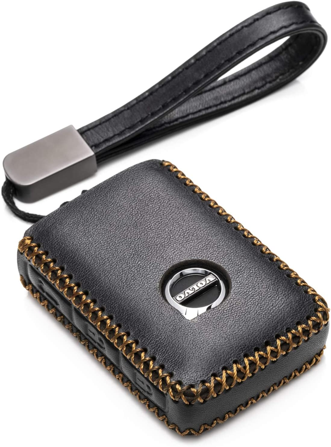 Vitodeco Genuine Leather Smart Key Fob Case Cover Protector with Leather Key Chain for 2019 Volvo XC60 4-Button, Black//Red 2020 Volvo XC40 V90 XC90 S90