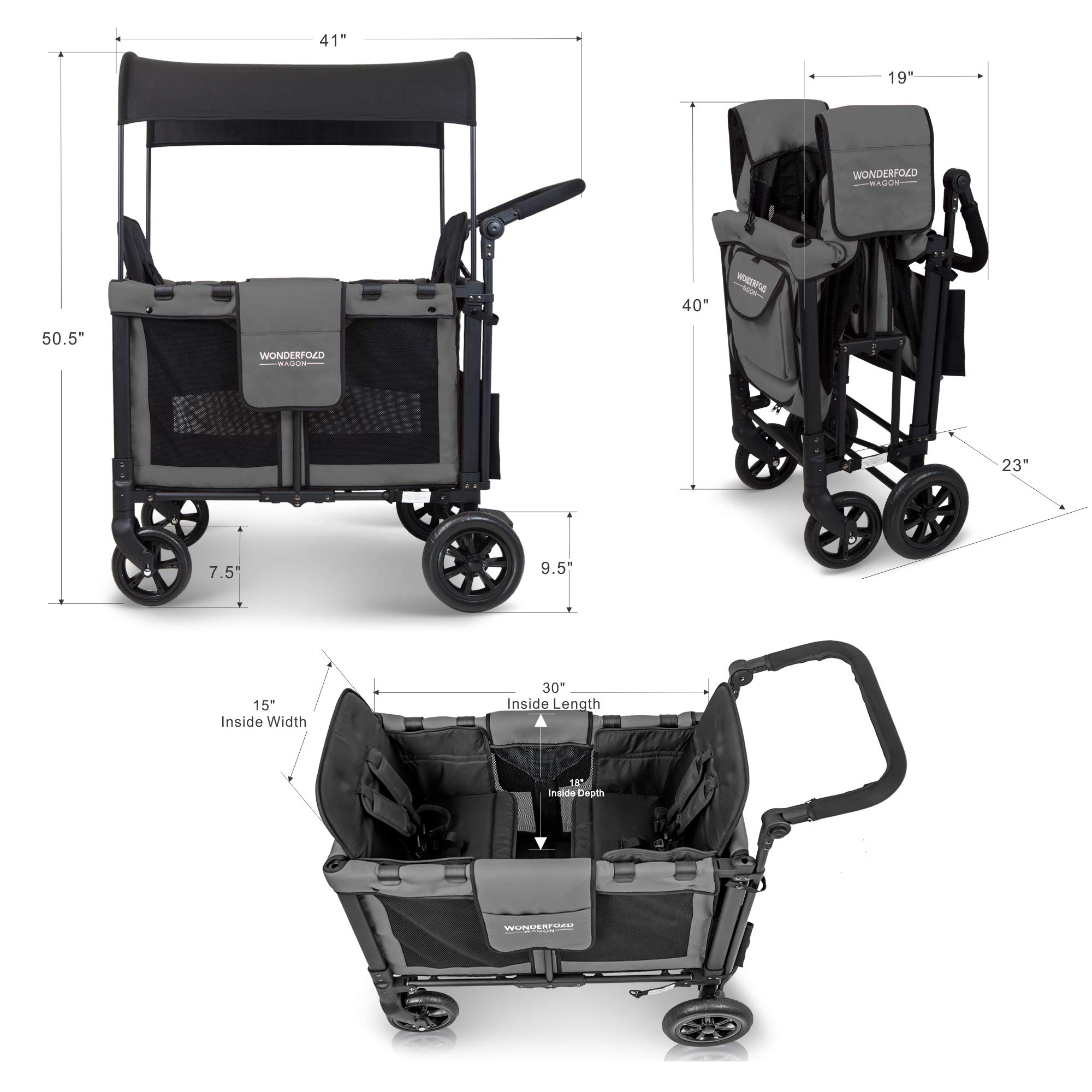 WonderFold Multi-Function Push 2 Passenger Double Folding Stroller, Adjustable Canopy & Removable Chair Seat Up To 2 Toddlers (Charcoal Gray) by WonderFold (Image #2)