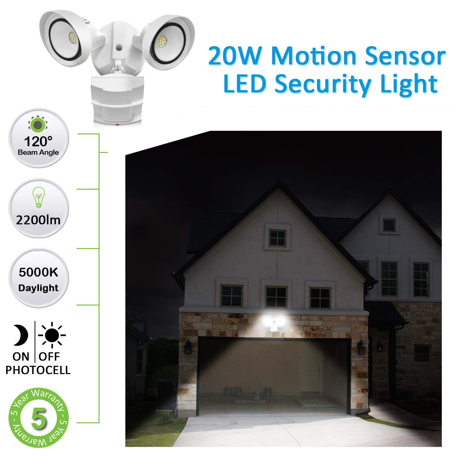 20W LED Securtiy Light Motion Sensor Outdoor,LEDMEI CREE LED 5000K Daylight 2200LM 250W Equivalent IP65 Waterproof Outdoor Motion Sensor Adjustable Flood Light for Entryway Stairs Yard Garage