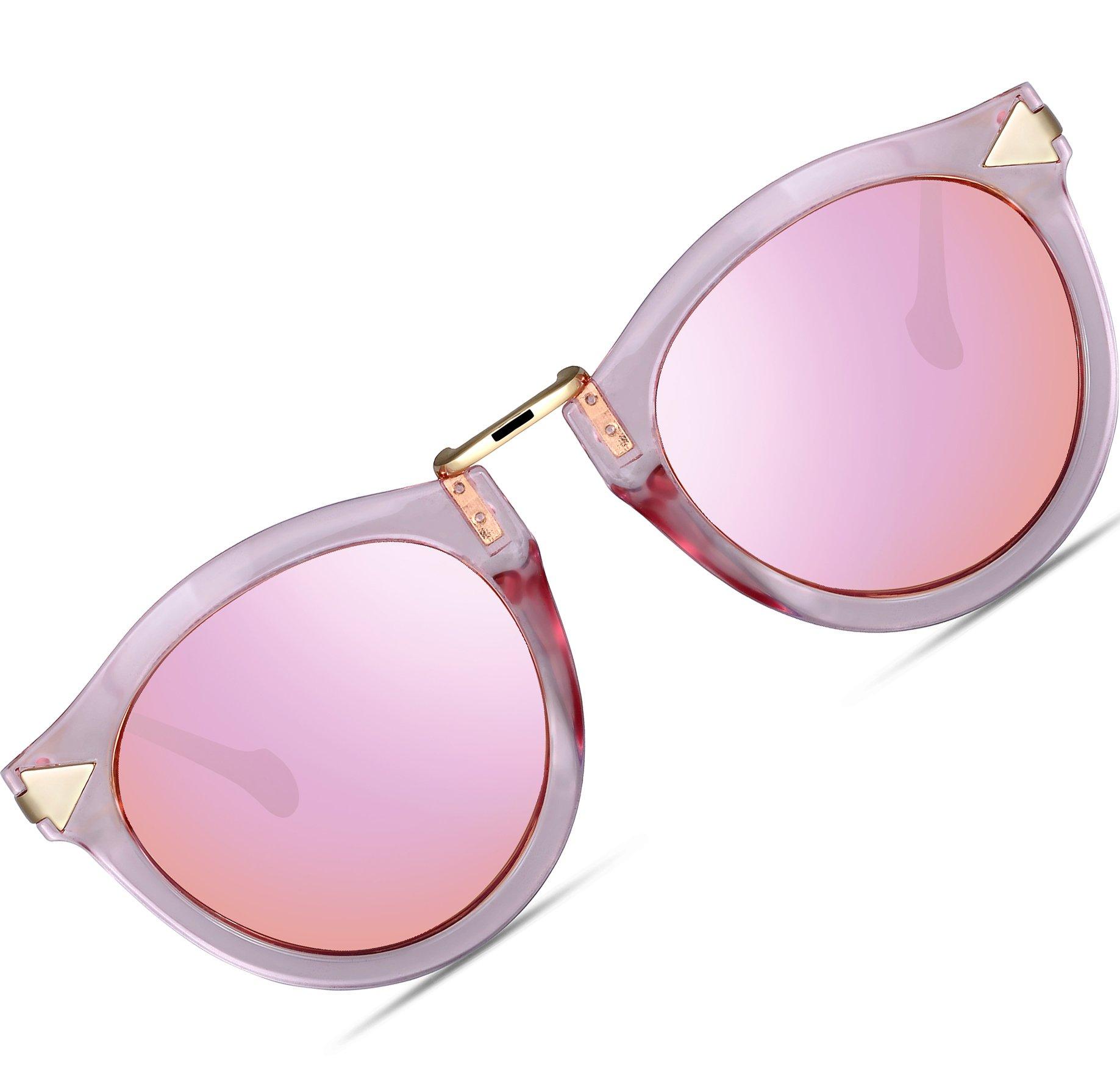 ATTCL Vintage Fashion Round Arrow Style Wayfarer Polarized Sunglasses for Women 1189-Pink by ATTCL