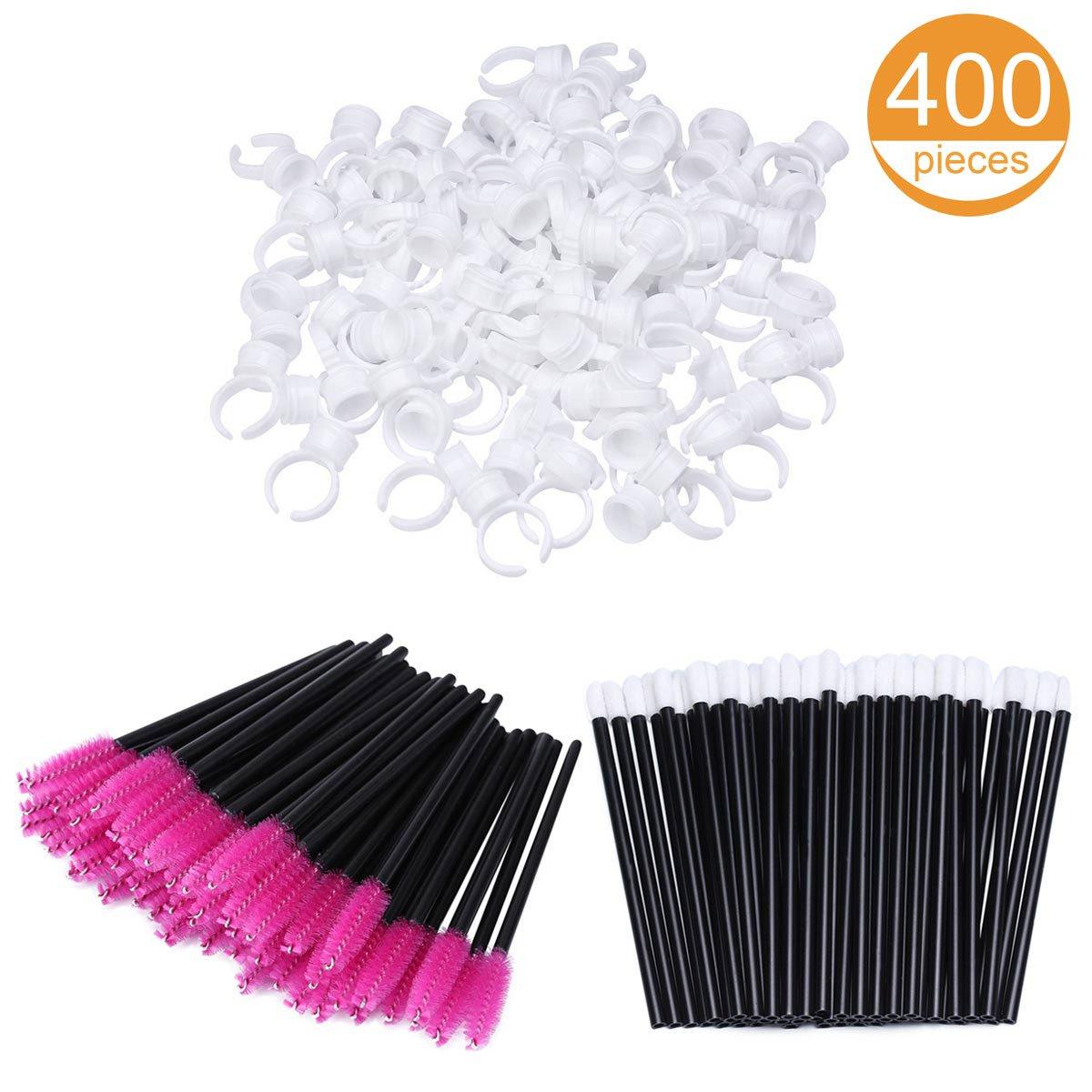100 Glue Holder Rings Cup 100 Eyeliner Brushes Eyelash Mascara Wands and 200 Lipstick Brush Gloss Wands Applicator