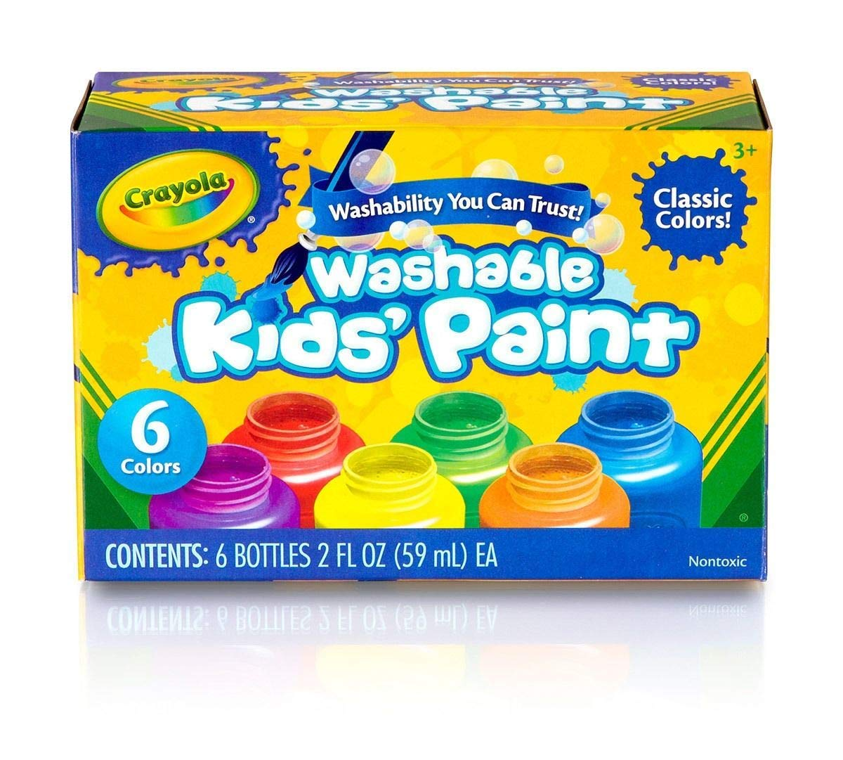 Washable Kids Paint, Classic Colors, 6 Count, Painting Supplies, Gift, Pack of 12