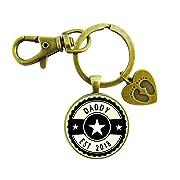 Daddy Established 2018 Keychain New Dad First Father's Day Vintage Bronze Keychain Baby Feet Charm