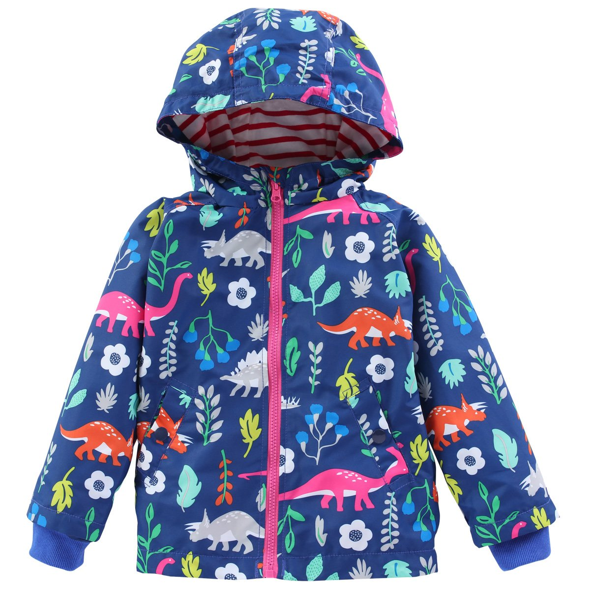 LZH Toddler Boys Waterproof Raincoat Dinosaur Hooded Jacket Coat C008