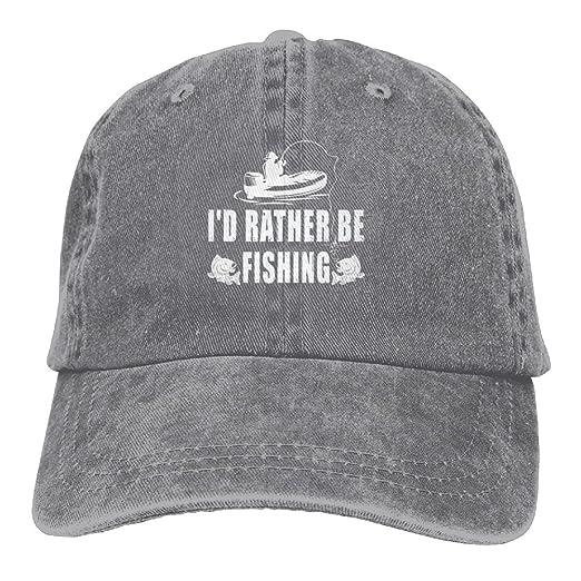 788becf6149 Arsmt I d Rather Be Fishing Denim Hat Adjustable Male Curved Baseball Cap