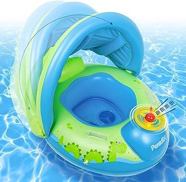 Peradix Flotador para Bebé con Asiento, Respaldo, Techo del sol ...