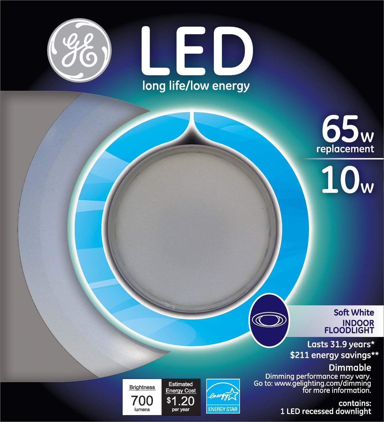 GE Lighting 95394 LED 10 Watt 700 Lumen Dimmable 6 Inch Recessed Indoor  Flood Downlight With Medium Base And Trim Ring     Amazon.com