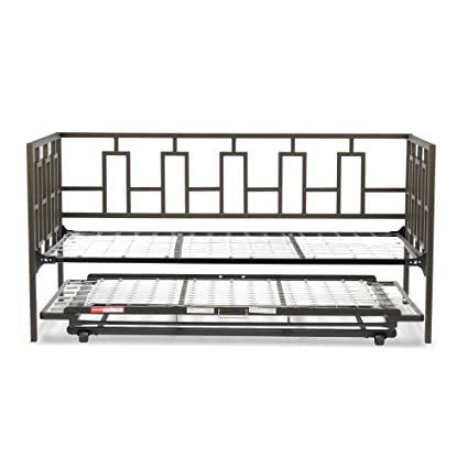 Miami Complete Metal Daybed with Link Spring and Trundle Bed Pop-Up Frame, Coffee