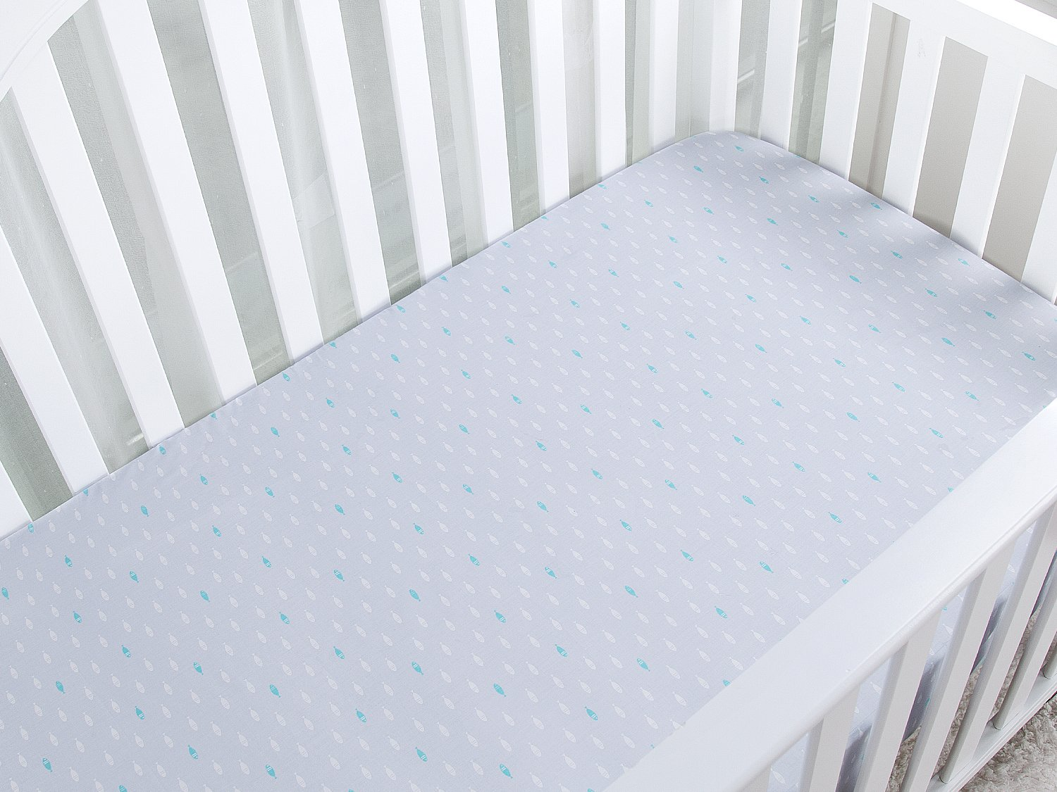 Breathable Cozy Comfortable 28 x 52in White TILLYOU 100/% Cotton Crib Sheet Fitted Hypoallergenic Toddler Mattress Sheets For Baby Boys and Girls
