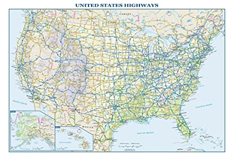 usa interstate highways wall map 225 x 1575 inches paper flat tubed