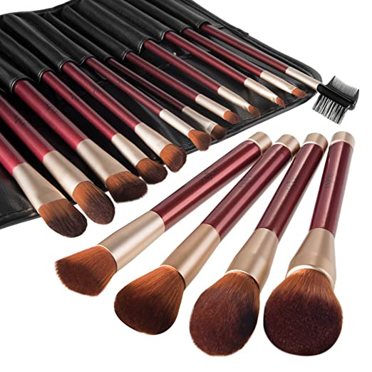 Anjou Makeup Brush Set, 16pcs Premium Cosmetic Brushes for Foundation Blending Blush Concealer Eye Shadow, Cruelty-Free Synthetic Fiber Bristles, PU Leather Roll Clutch Included, Wine Red