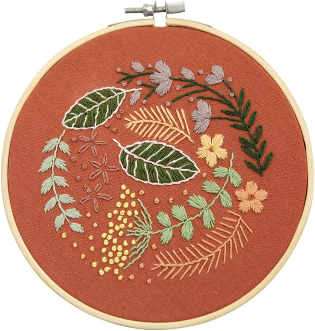 2 Set of Embroidery Starter Kit Floral Cross Stitch Kit for Beginners Adults Kids Patterned Embroidery Cloth HelloCreate DIY Floral Cross Stitch Kit Tools Bamboo Hook