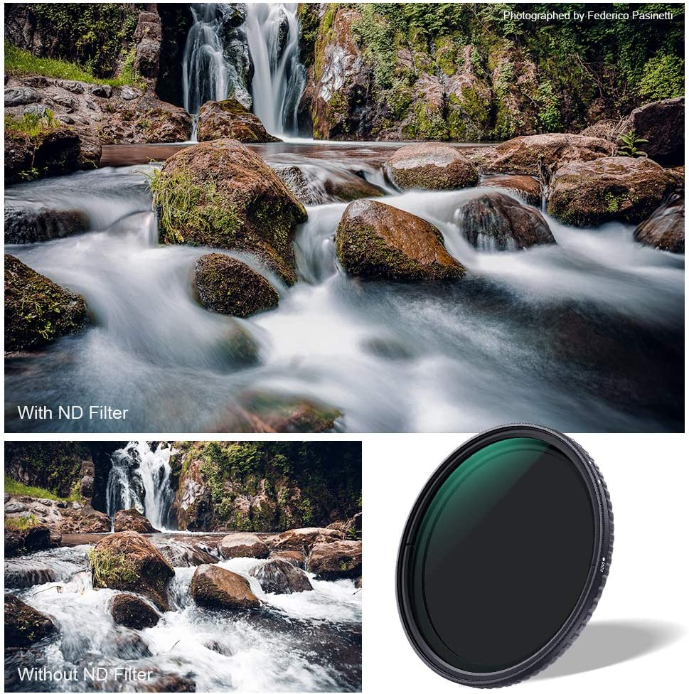 K/&F Concept 46mm Fader ND Filter Neutral Density Variable Filter ND2 to ND32 for Camera Lens NO X Spot,Nanotec,Ultra-Slim,Weather-Sealed