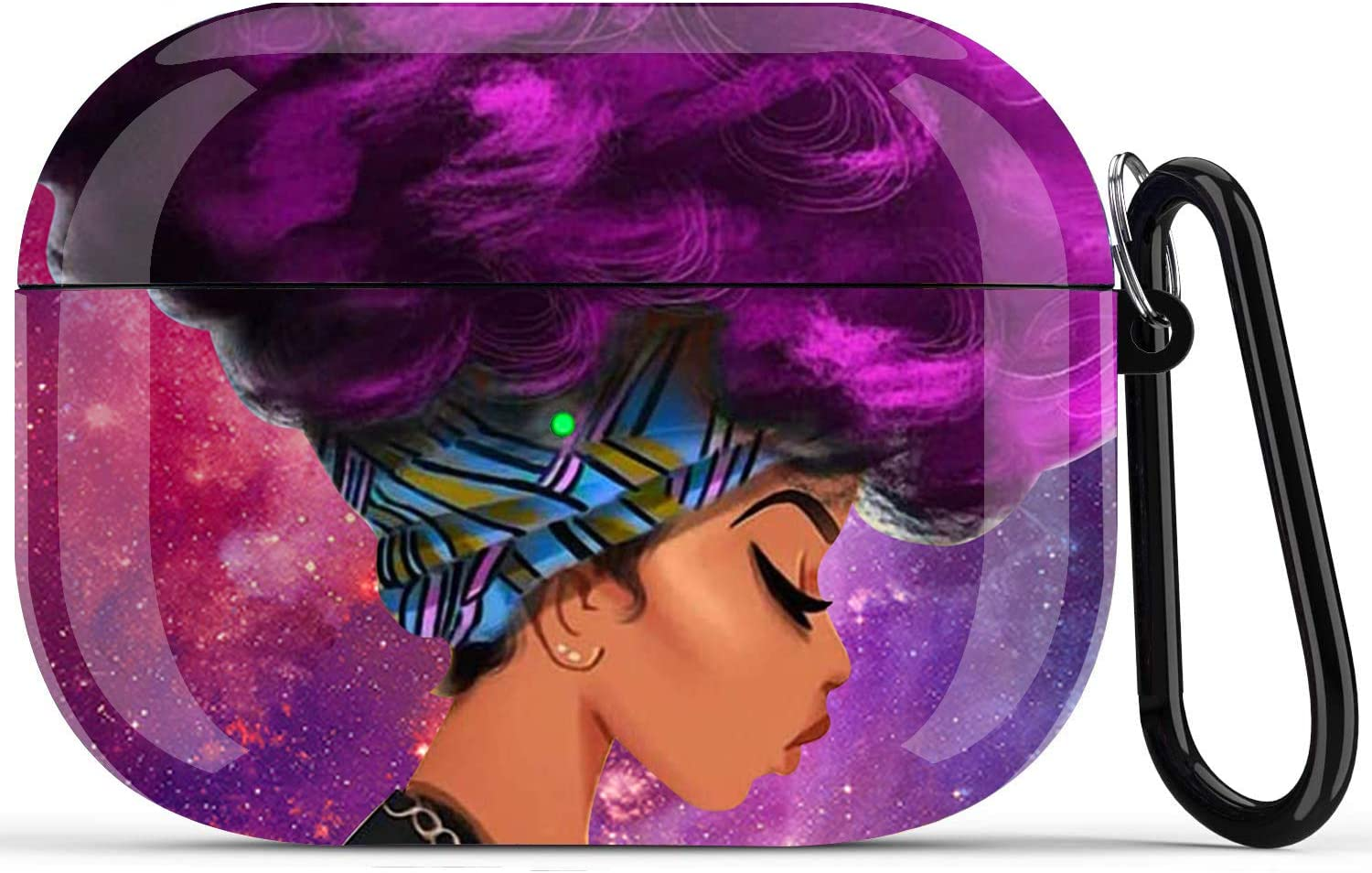 Black Girl Airpods Pro Case - Fibuntun African American Protective Hard Case Cover Skin Portable & Shockproof Women Girls with Keychain for Apple Airpods Pro Charging Case - Purple Hair Girl