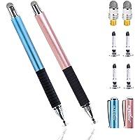 aibow タッチペン スマートフォン タブレット スタイラスペン iPad iPhone Android 2本+ペン先6個 (ライトブルー+ローズゴールド)