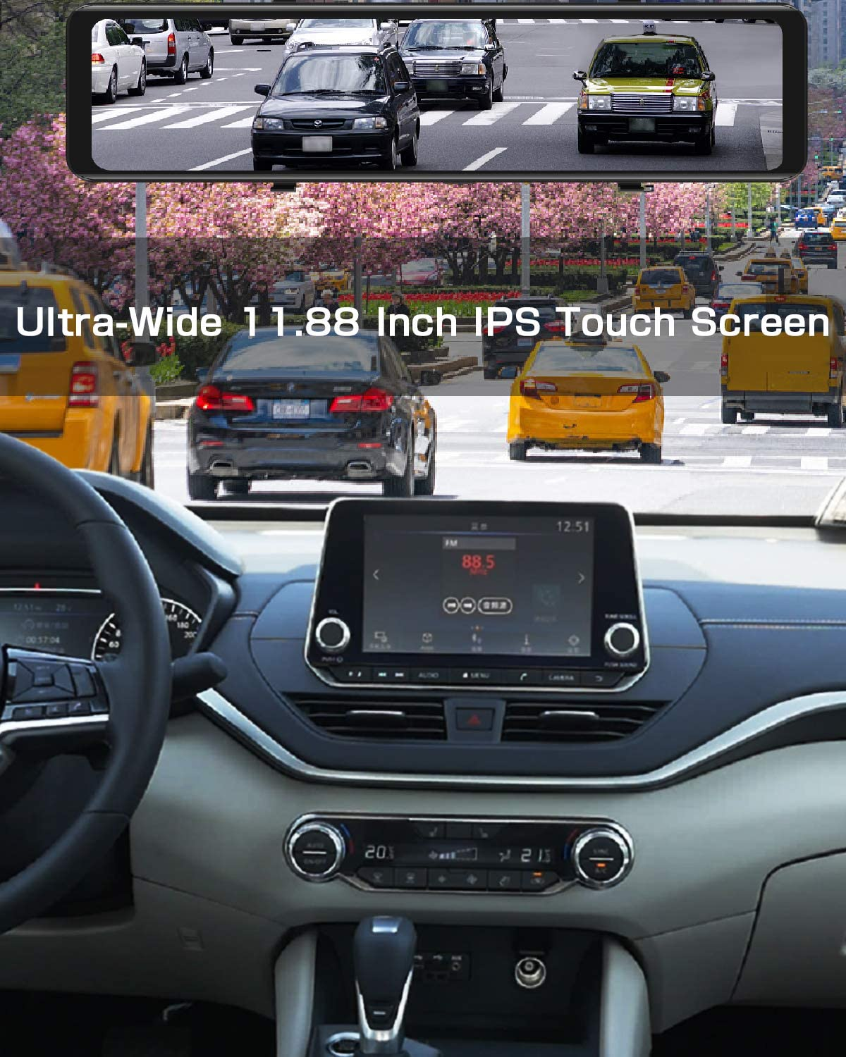 Parking Monitor/&Assistance Night Vision AKEEYO X2 Mirror Dash Cam for Cars 11.88 Inch IPS Touch Screen Loop Recording FHD 1080P Front and Rear Backup Camera with HDR G-Sensor