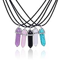 Meetlight Collana girocollo con pendente a forma di gemma di cristallo esagonale, pietra preziosa a forma di pallottola con cordoncini in cuoio. Confezione da 5