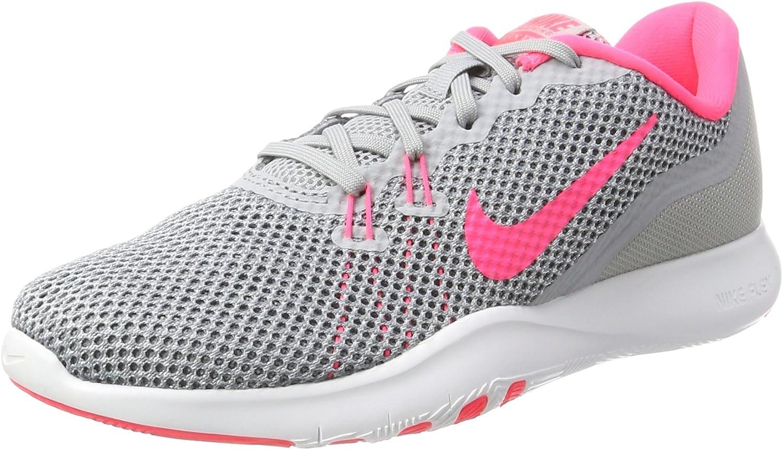 Nike Womens Flex Trainer 7, Wolf Grey Racer Pink-Stealth, 8