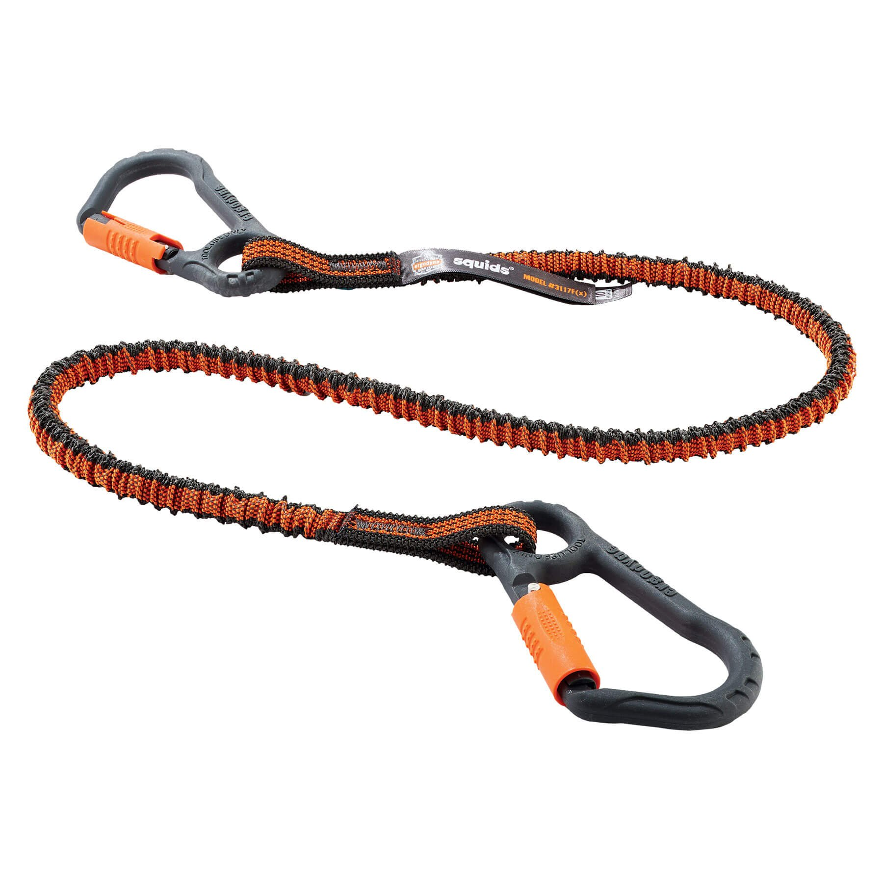 Ergodyne Squids 3117F(x) Shock Absorbing Tool Lanyard with Dual Nylon Composite Carabiners, 10 Pounds