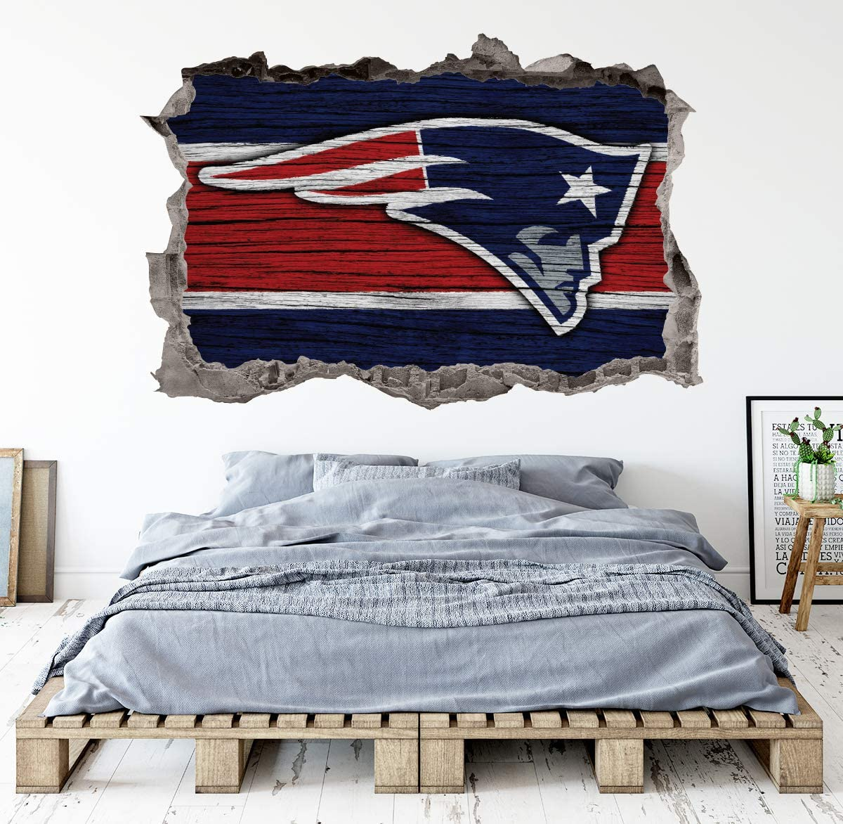 Football New England Team Wall Decals Art 3D Smashed Custom Fan Patriots Wall Decor Bedroom Garage Removable Vinyl Wall Stickers Gift WL159