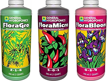 General Hydroponics Fertilizer Set (Flora Grow, Bloom, Micro Combo)