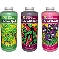 General Hydroponics Flora Grow, Bloom, Micro Combo Fertilizer set, 1 Quart (Pack...