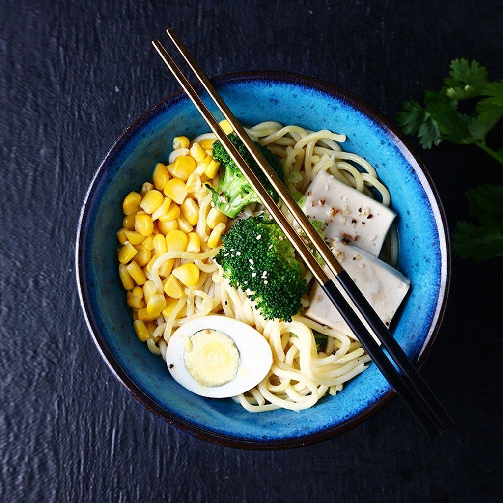 Japanese-style Creative Ceramics Bowl Retro Noodles Fruit Salad Ramen Soup Large Bowl Blooming Pinellia