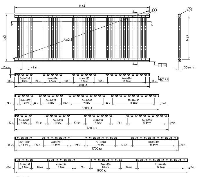 Radiador Toallero Térmico Pequeño Estrecho Plano Cromado de Baño de 300mm de Ancho x 1600mm de Alto: Amazon.es: Hogar