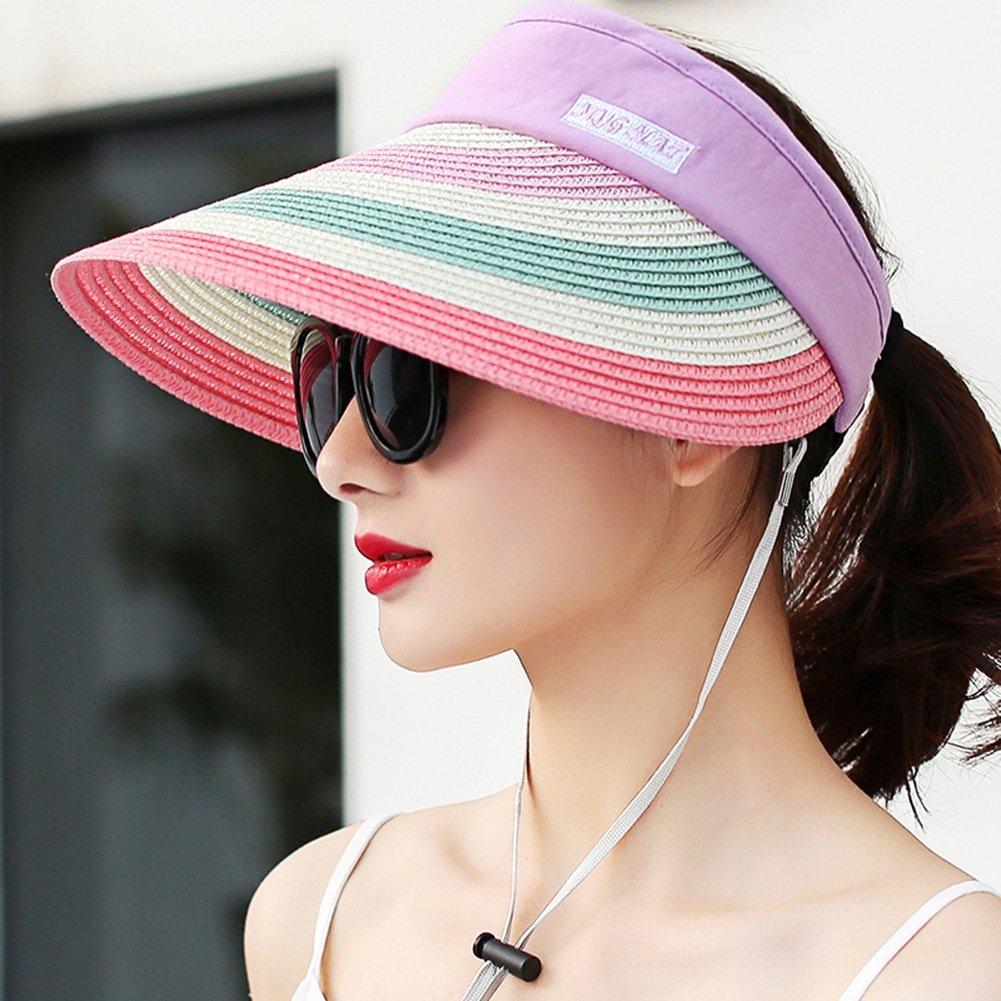 1  WYGGhat Summer Hat, Sun Hats Women Elasticity Adjustment Belt Wind Rope color Stripe Breathability Travel, 4 colors Optional  & (color   2 )