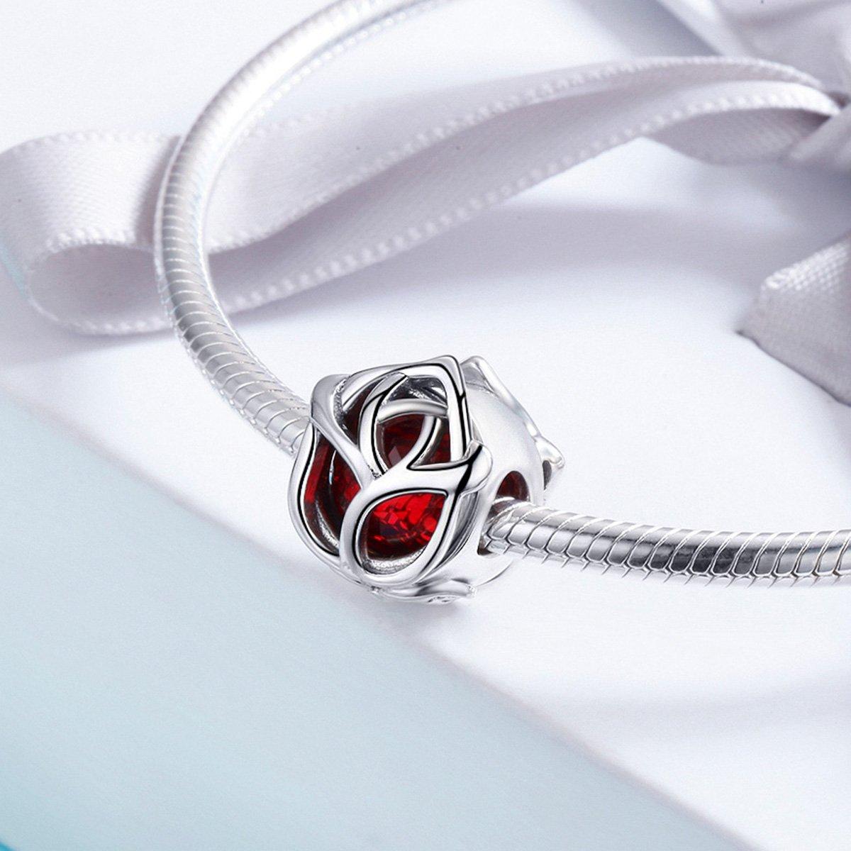 BAMOER 925 Sterling Silver Feathers Angel Wing Heart Shape Charm Bead Fit Bracelet Necklace