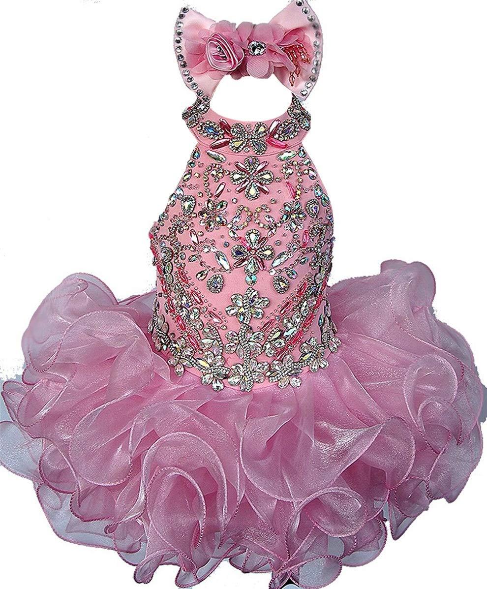 Junguan Baby Girls' Birthday Party Dress Toddler Kids Cupcake Pageant Dress 1 US Pink by Junguan