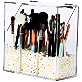 Newslly Clear Acrylic Makeup Organizer with 3 Brush Holder Compartment and Dustproof Lid, Cosmetic Brush Storage Box with White Pearls, for Bathroom Bedroom Vanity Countertop