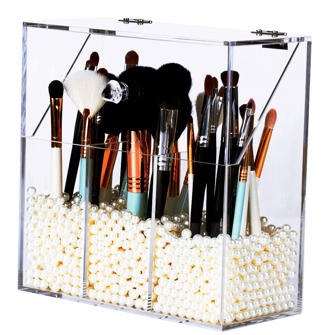 Newslly Clear Acrylic Makeup Organizer with 3 Brush Holder Compartment and Dustproof Lid, Cosmetic Brush Storage Box with White Pearls, for Bathroom Bedroom Vanity Countertop…