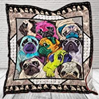 I Love Pugs Quilt TH463 All-Season Quilts Comforters with Reversible Cotton King/Queen/Twin Size - Best Decorative Quilts-Unique Quilted for Gifts