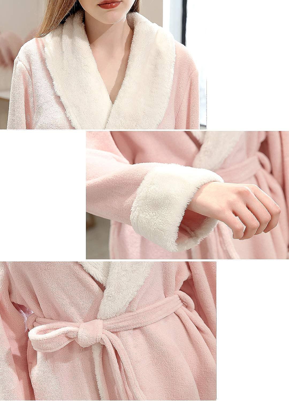 ZAKASA Femmes Mesdames De Chaud Doux Polaire Peignoir Robe de Bain Robe de Bain Housecoat Pleine Longueur avec Ceinture