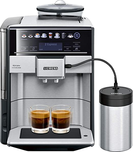 Siemens EQ.6 plus Independiente Máquina espresso 1,7 L Totalmente automática - Cafetera (Independiente, Máquina espresso, 1,7 L, Molinillo integrado, 1500 W, Negro, Acero inoxidable): Amazon.es: Hogar