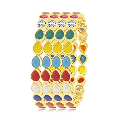 3e6a007ddfda3 YouBella Fashion Jewellery Traditional Gold Plated Bracelet Bangles Set of  4 for Girls and Women (