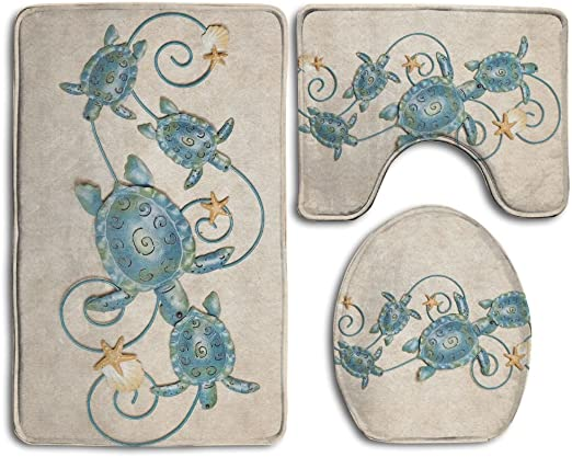 3 Pieces Toilet Seat Lid Cover Animal Design Non-slip Bathroom Mat Set U-shape