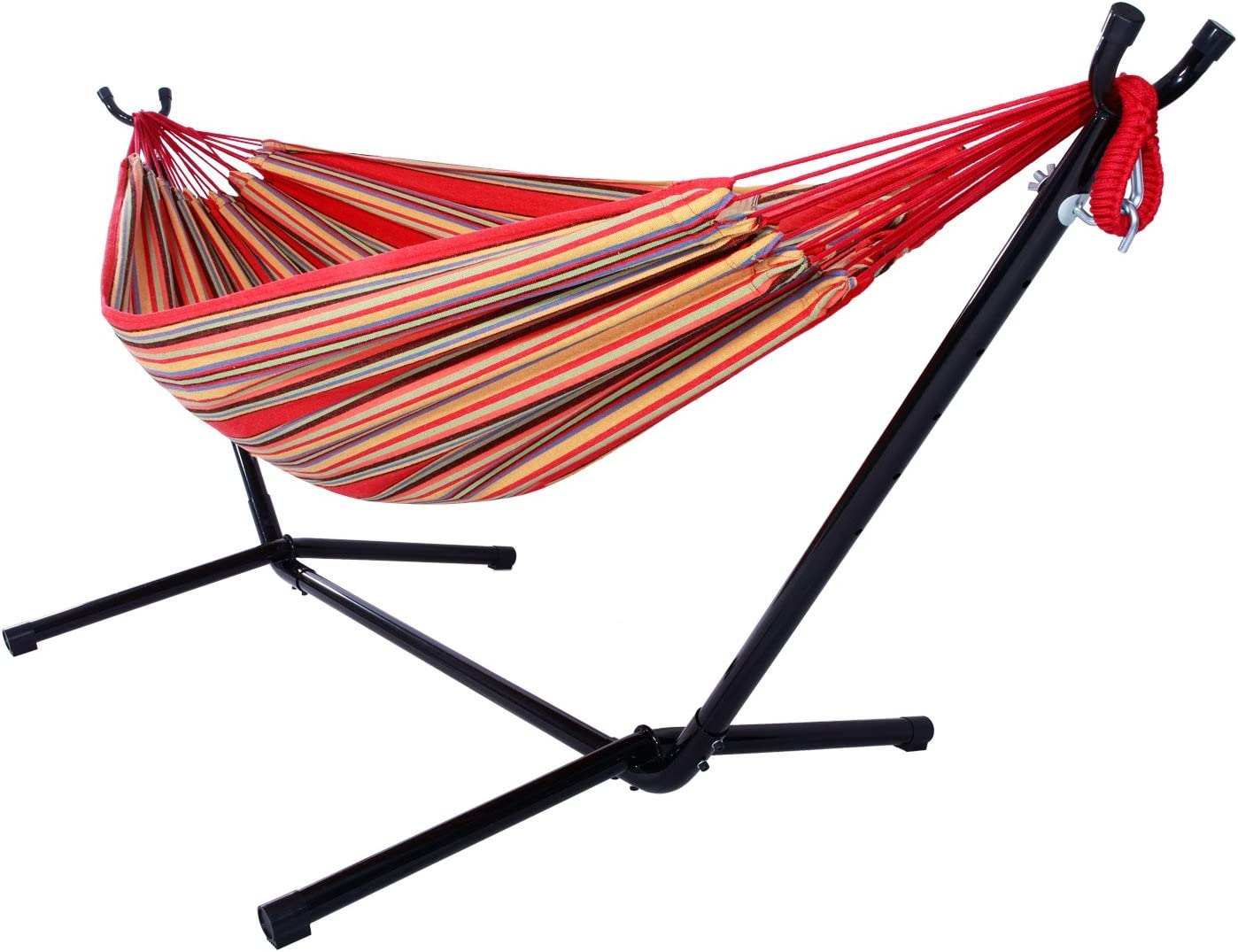 Lovinland Hammock with Space Saving Hammock Stand Portable Hammock Set for Indoor Outdoor Use red
