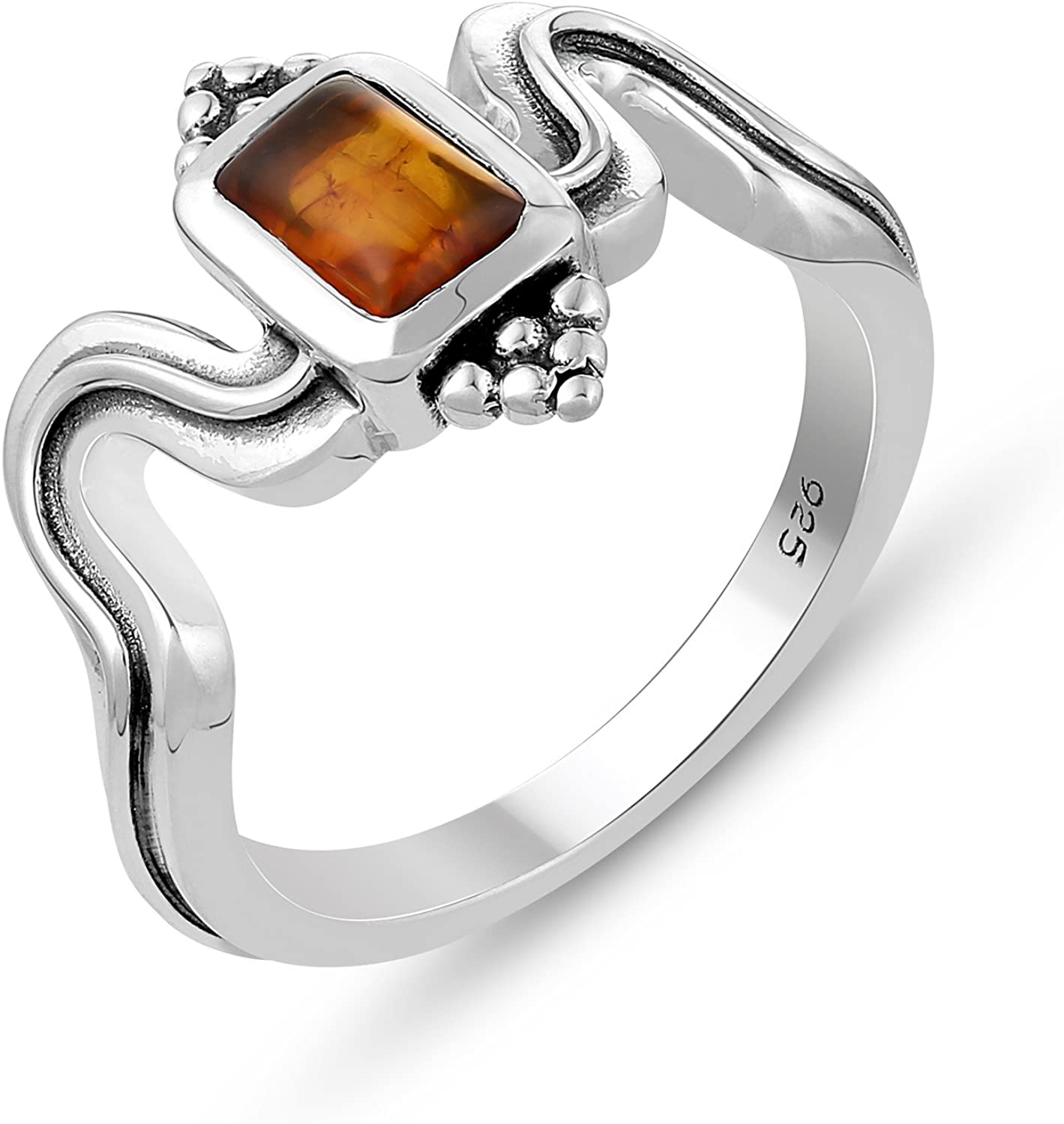 Genuine Gemstone .925 Sterling Silver Red Amber Ring Valentine Gifts for Her