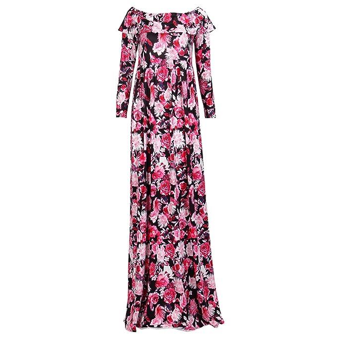 TOOGOO Vestido de fotografia de maternidad estampado floral de escote sexy de mujer embarazada NUEVA Moda
