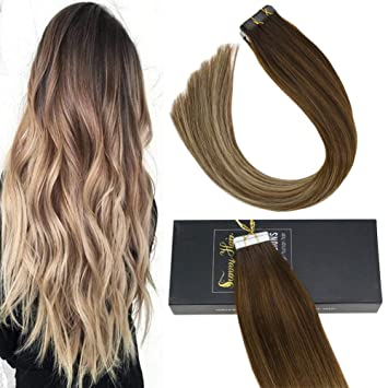 Sunny Balayage Extension Tape In Echthaar 14zoll Braun Lowhight Mit Blond Glatt Remy Tape Extensions Echt Haare 20pcs50g