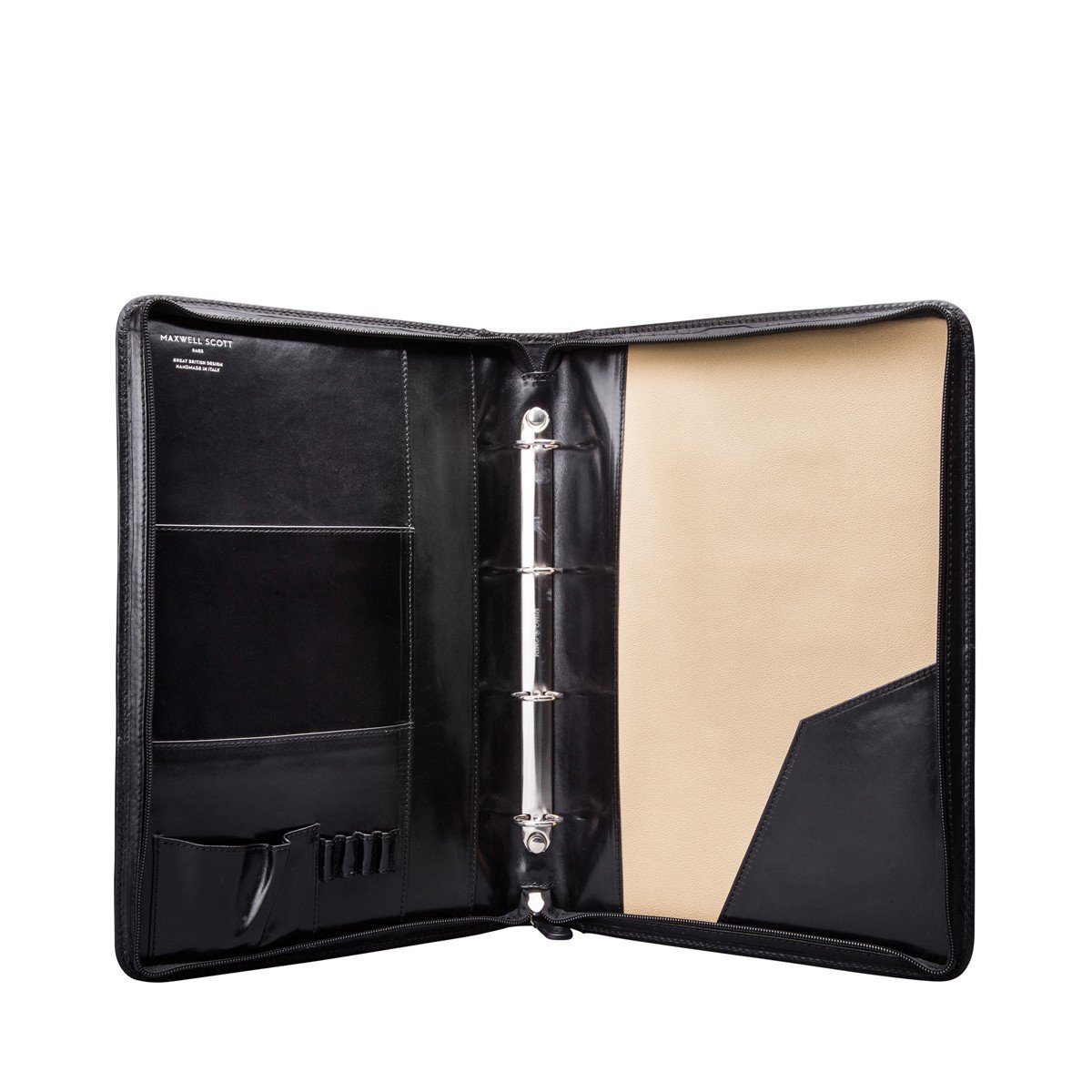 The Veroli Maxwell Scott Luxury Leather Conference Folder with Ringbinder//Zipped