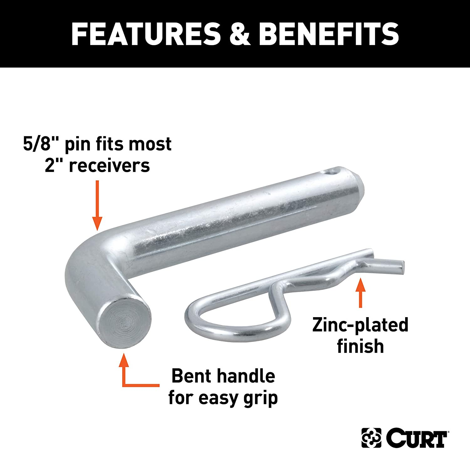 Curt Manufacturing 21501 5//8 In Hitch Pin With Clip Packaged