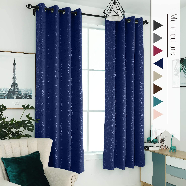 "2PC GEO Flocked Sheer Grommet Window Curtain Panel 38/""WX84/""L in Multiple Colors"
