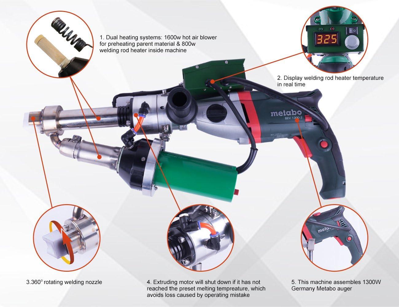 LESITE Handheld Plastic Extrusion Welder Kit for Fabrication /& Repair LST610A