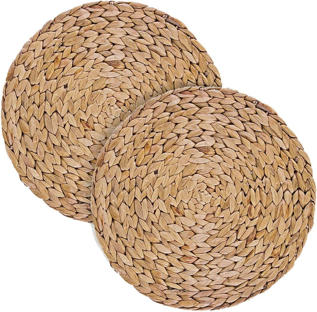 Round woven hyacinth straw placemats. 25 Amazing Finds Under $25 & Fun Quotes to Make You Smile!