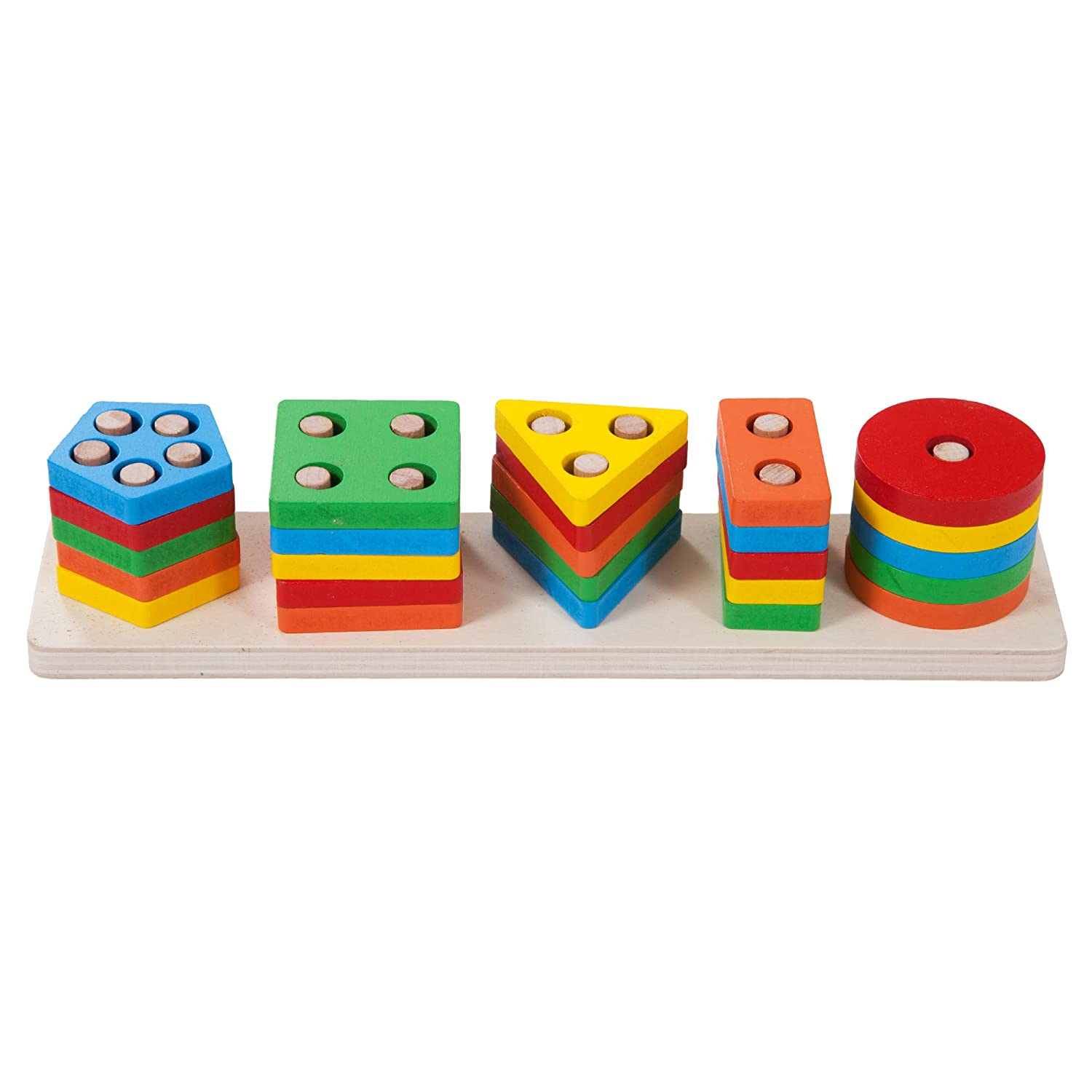 Smart Keiki Premium Wooden Educational Geometric Stack and Sort Activity Board for Toddlers and Kids Best Montessori Sensory Toy for Learning Shapes and Colors