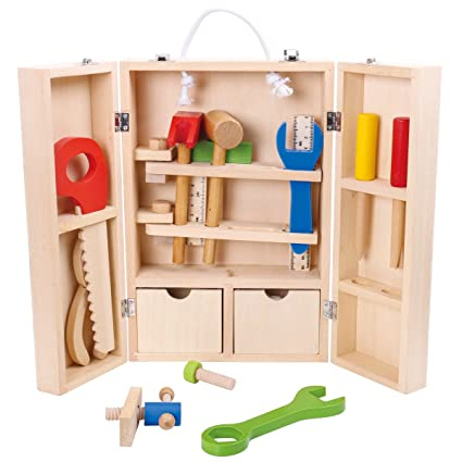 Amazon Com Cossy Wooden Kids Tool Box Kids Play Tools Toolbox For