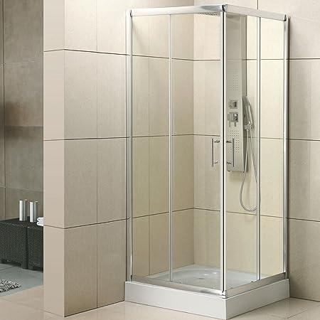 Mampara de ducha 3 cm, tres lados cristal 80 x 100 x 80 mod. Yadira: Amazon.es: Hogar